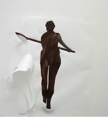 E Matthews - Fig 4 - Absent Women_1x1.8m_paper_paint_board